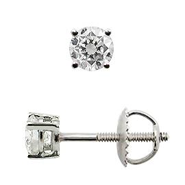 Runde Diamantohrstecker in einer Krappenfassung